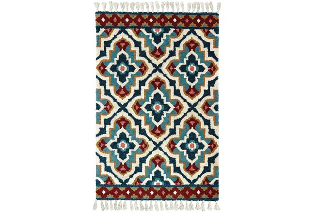 60X96 Rug-Tatiana Navy With Tassles - 360