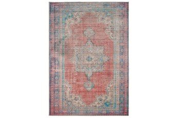 90X119 Rug-Archer Distressed Red/Blue