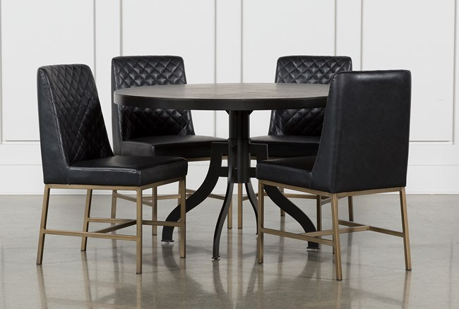 Foundry Round 5 Piece Dining Set With Dom Side Chairs - 360