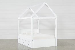 Taylor White Full Canopy House Bed With Double 3- Drawer Storage