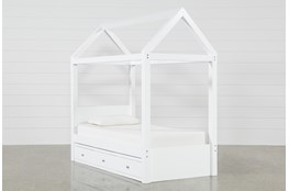 Taylor White Twin Canopy House Bed With Double 3- Drawer Storage