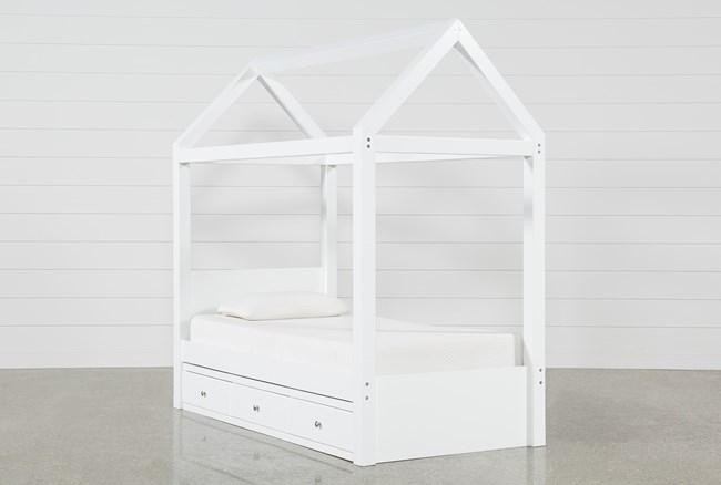 Taylor White Twin Canopy House Bed With Double 3- Drawer Storage - 360