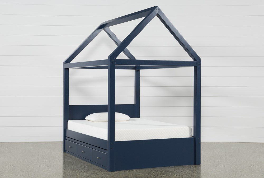 Taylor Navy Full Canopy House Bed With Double 3- Drawer Storage