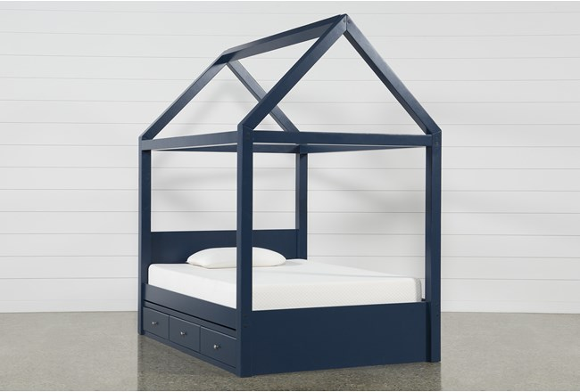 Taylor Navy Full Canopy House Bed With Double 3- Drawer Storage - 360