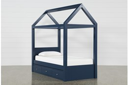 Taylor Navy Twin Canopy House Bed With Double 3- Drawer Storage