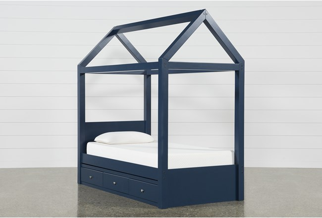 Taylor Navy Twin Canopy House Bed With Double 3- Drawer Storage - 360