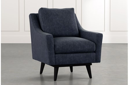 Devon II Navy Blue Swivel Accent Chair
