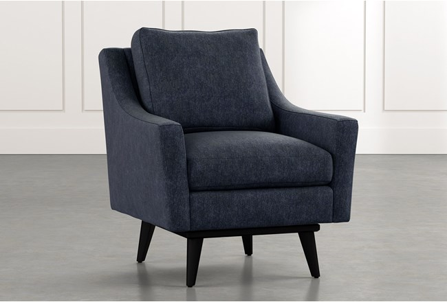 Devon Ii Navy Blue Swivel Accent Chair Living Spaces