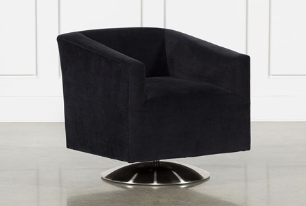 Loft Black Swivel Accent Chair