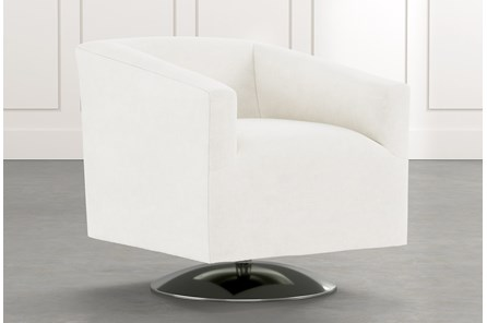 Loft White Swivel Accent Chair