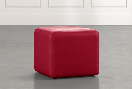 Loft Red Leather Ottoman