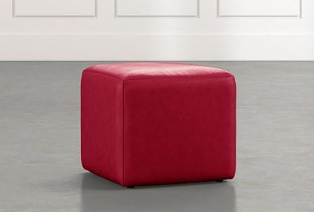 Loft Red Leather Ottoman