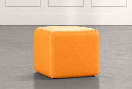 Loft Orange Leather Ottoman