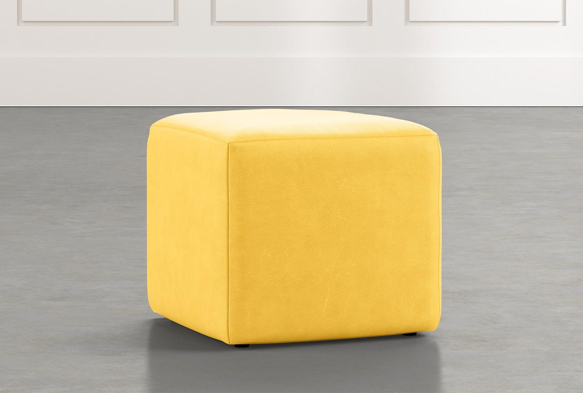 Loft Yellow Leather Ottoman Living Es