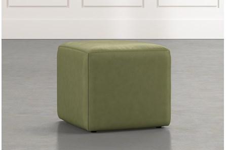 Loft Green Leather Ottoman