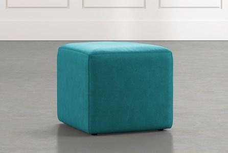 Loft Blue Leather Ottoman