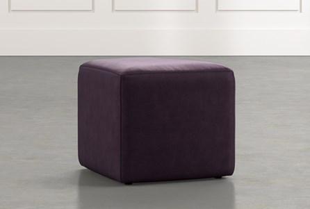 Loft Purple Leather Ottoman