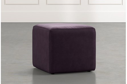 Loft Purple Leather Ottoman