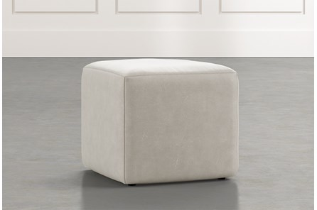 Loft Light Grey Leather Ottoman