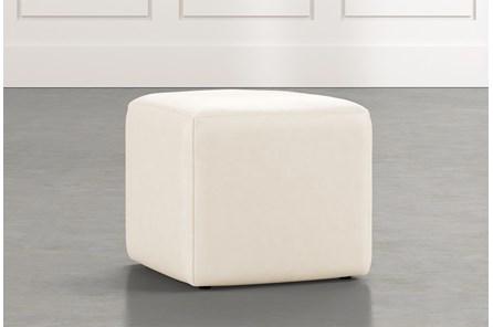 Loft White Leather Ottoman
