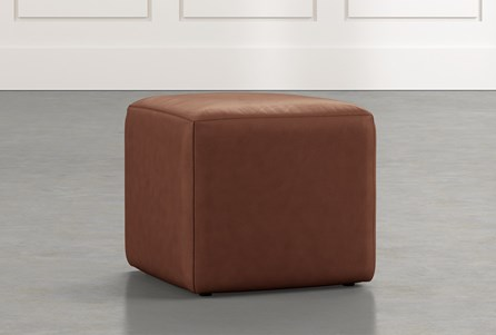 Loft Brown Leather Ottoman