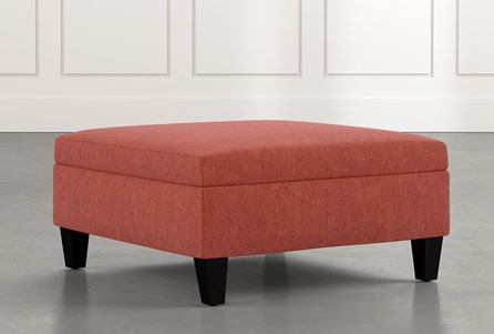 Dexter II Red Accent Storage Ottoman