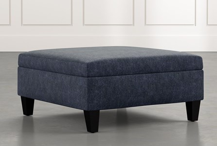 Dexter II Navy Blue Accent Storage Ottoman