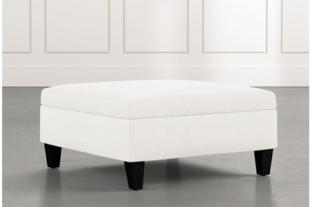 Dexter II White Accent Storage Ottoman