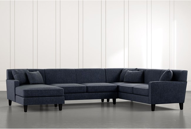 Dexter II Navy Blue 3 Piece Sectional - 360