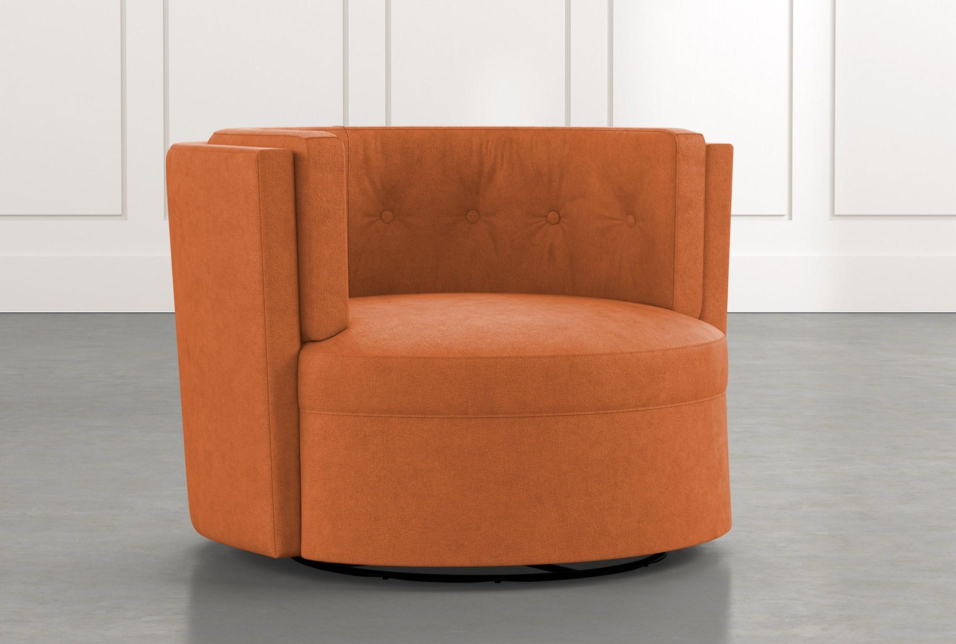 Aidan Ii Orange Swivel Accent Chair Living Spaces