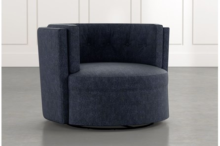 Aidan II Navy Blue Swivel Accent Chair