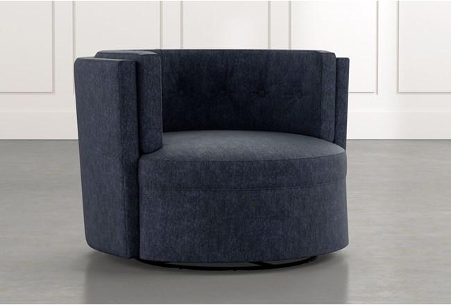 Aidan Ii Navy Blue Swivel Accent Chair Living Spaces