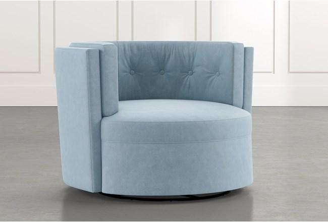 Aidan Ii Light Blue Swivel Accent Chair Living Spaces