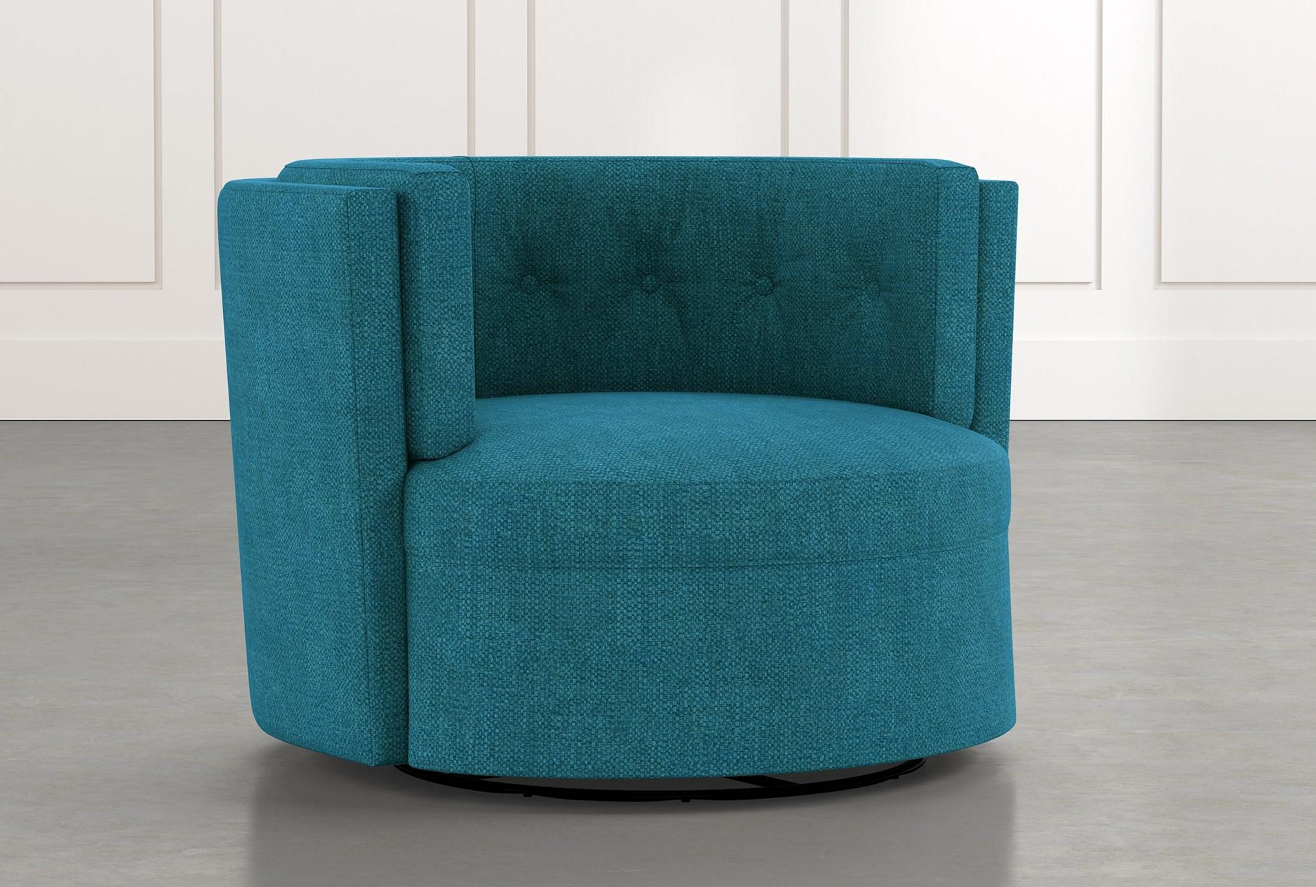 Aidan Ii Teal Swivel Accent Chair Living Spaces