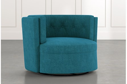 Aidan II Teal Swivel Accent Chair