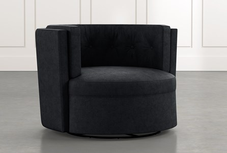 Aidan II Black Swivel Accent Chair