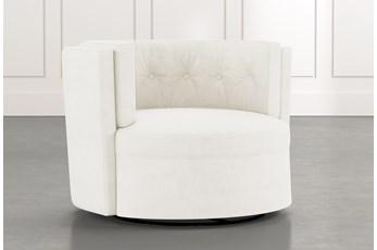 Aidan II White Swivel Accent Chair