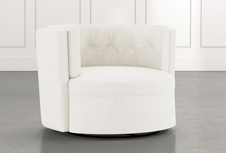Aidan II White Swivel Accent Chair