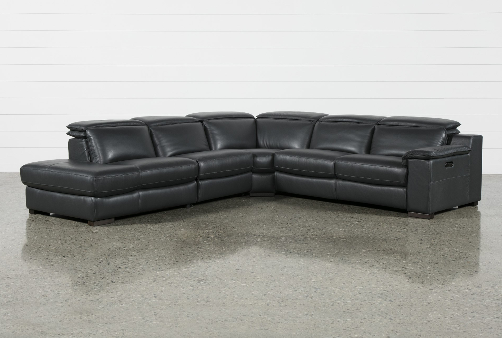 Hana Slate Leather 4 Piece Power Reclining Sectional W/3 Power Recliner & Laf Chaise