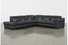 Hana Slate Leather 4 Piece Power Reclining Sectional With 3 Power Recliners & Left Arm Facing Chaise