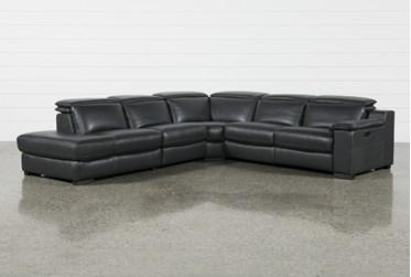 """Hana Slate Leather 4 Piece 113"""" Power Reclining Sectional With 3 Power Recliners & Left Arm Facing Chaise"""