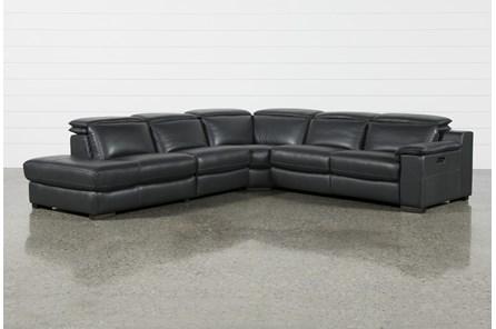 Hana Slate Leather 4 Pc Pwr Rcln Sctnl With 3 Pwr Rclnr & Left Arm Facing Chaise