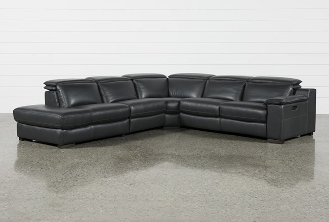 Hana Slate Leather 4 Piece Power Reclining Sectional With 3 Power Recliners & Left Arm Facing Chaise - 360