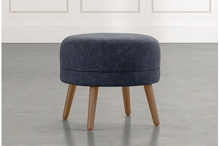 Devon II Navy Blue Accent Ottoman