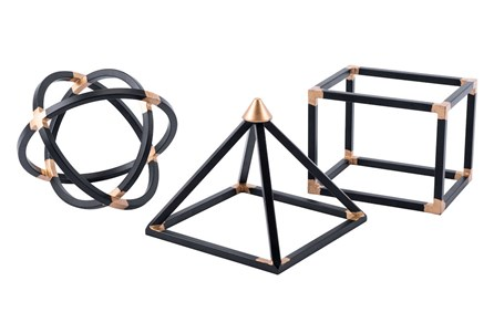 Geo Shapes Set Of 3 Black