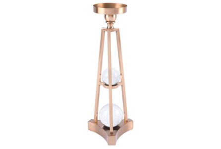 Candle Holder With Orbs Sm Antique Brass