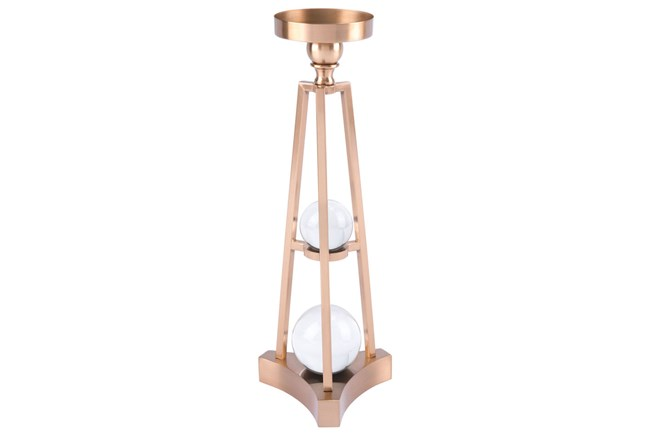 Candle Holder With Orbs Sm Antique Brass - 360