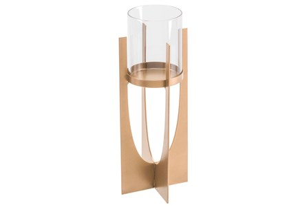 Equis Gold Candle Holder Sm Gold