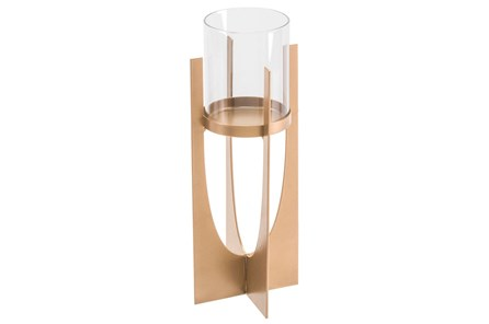Equis Gold Candle Holder Sm Gold - Main