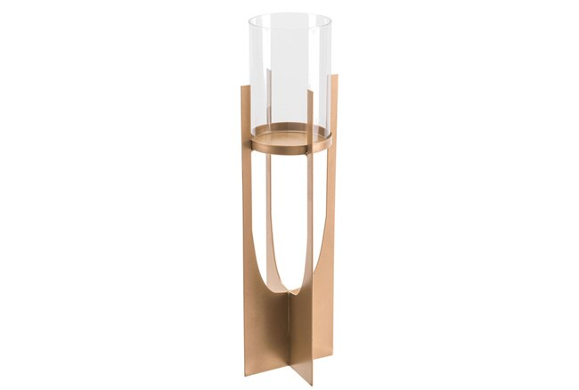 Equis Gold Candle Holder Lg Gold - 360
